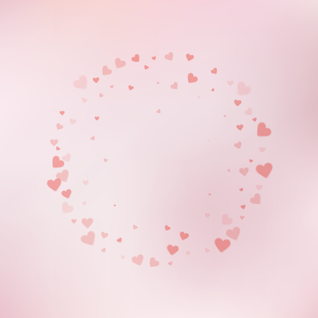 Red heart love confettis. Valentine's day frame fair background. Falling transparent hearts confetti on subtle background. Energetic vector illustration. Vettoriali