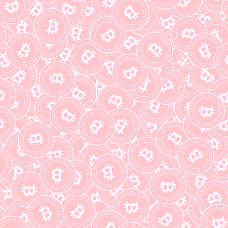 Bitcoin, internet currency copper coins seamless pattern. Alluring scattered pink BTC coins. Success concept. Cryptocurrency, digital money pattern. Coin vector illustration. Illusztráció