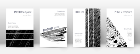 Cover page design template. Geometric brochure layout. Bizarre trendy abstract cover page. Black and white grunge texture background. Radiant poster. 向量圖像