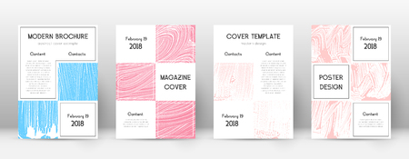 Cover page design template. Business brochure layout. Bizarre trendy abstract cover page. Pink and blue grunge texture background. Artistic poster.