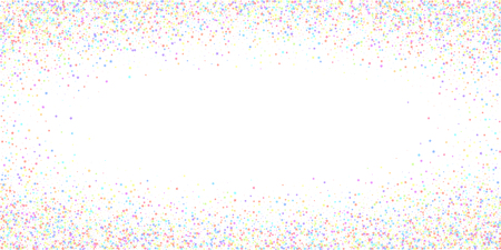 Festive confetti. Celebration stars. Colorful stars small on white background. Elegant festive overlay template. Energetic vector illustration.