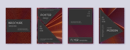 Black brochure design template set. Orange abstract lines on wine-red background. Actual brochure design. Tempting catalog, poster, book template etc.