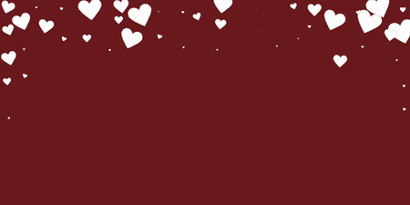 White heart love confettis. Valentines day falling rain fresh background. Falling stitched paper hearts confetti on maroon background. Ecstatic vector illustration.