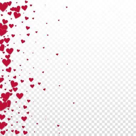 Red heart love confettis. Valentine's day gradient stylish background. Falling stitched paper hearts confetti on transparent background. Exceptional vector illustration.