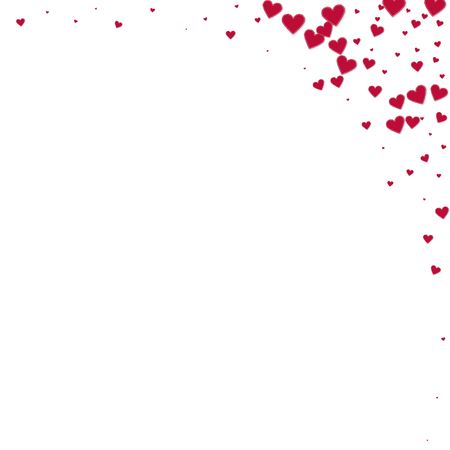 Red heart love confettis. Valentine's day corner optimal background. Falling stitched paper hearts confetti on white background. Delightful vector illustration. Иллюстрация