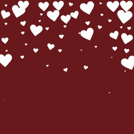 White heart love confettis. Valentine's day falling rain comely background. Falling stitched paper hearts confetti on maroon background. Cool vector illustration.