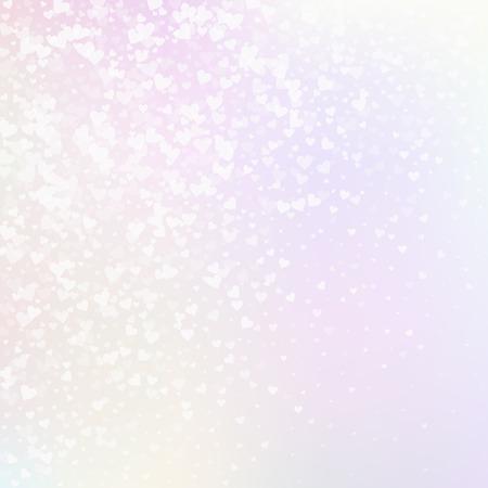 Confettis de amor de corazón blanco. Hermoso fondo degradado de San Valentín. Confeti de corazones transparente cayendo sobre fondo rosado. Ilustración vectorial deslumbrante. Ilustración de vector