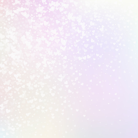 White heart love confettis. Valentine's day gradient comely background. Falling transparent hearts confetti on pinkish background. Dazzling vector illustration. Vektorové ilustrace