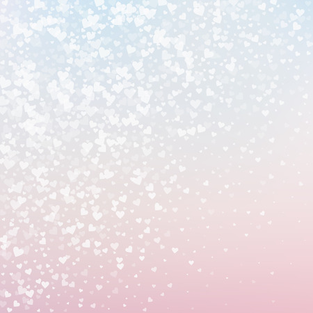 White heart love confettis. Valentine's day gradient charming background. Falling transparent hearts confetti on delicate background. Dazzling vector illustration.