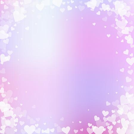 White heart love confettis. Valentine's day vignette delicate background. Falling transparent hearts confetti on gentle background. Extraordinary vector illustration.