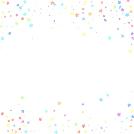 Festive confetti. Celebration stars. Colorful stars random on white background. Charming festive overlay template. Fresh vector illustration.