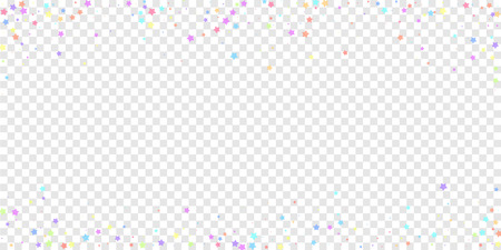 Festive confetti. Celebration stars. Colorful stars random on transparent background. Decent festive overlay template. Radiant vector illustration.