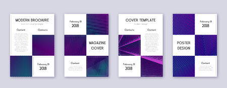 Business brochure design template set. Neon abstract lines on dark blue background. Adorable brochure design. Favorable catalog, poster, book template etc. Ilustrace