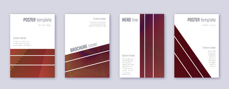 Geometric brochure design template set. Orange abstract lines on wine-red background. Alluring brochure design. Favorable catalog, poster, book template etc.