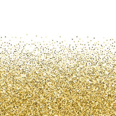Des triangles d'or scintillent de confettis étincelants de luxe. Petites particules d'or dispersées sur fond blanc. Incroyable modèle de superposition festive. Illustration vectorielle époustouflante.