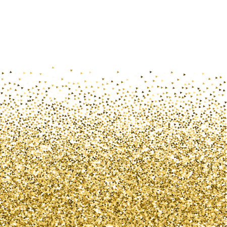 Gold triangles glitter luxury sparkling confetti. Scattered small gold particles on white background. Amazing festive overlay template. Mind-blowing vector illustration.