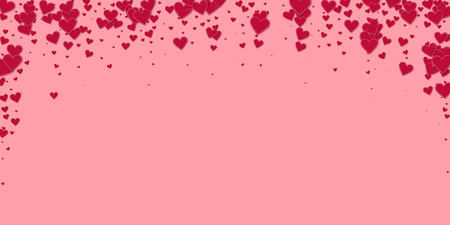 Red heart love confettis. Valentines day falling rain fetching background. Falling stitched paper hearts confetti on pink background. Ecstatic vector illustration.