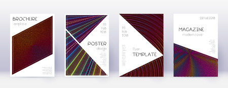 Triangle brochure design template set. Rainbow abstract lines on wine red background. Breathtaking brochure design. Modern catalog, poster, book template etc.  イラスト・ベクター素材