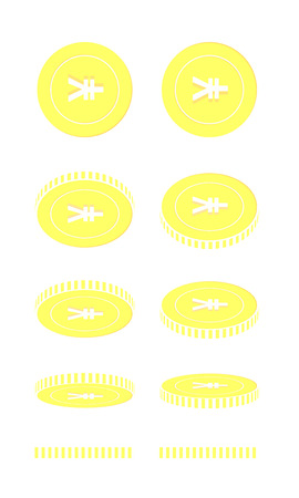 Chinese yuan rotating coins set, animation ready. Yellow CNY gold coins rotation. China metal money. Alive cartoon vector illustration.