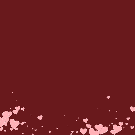 Pink heart love confettis. Valentine's day gradient favorable background. Falling stitched paper hearts confetti on maroon background. Exquisite vector illustration.
