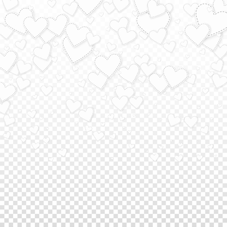 White heart love confettis. Valentine's day gradient trending background. Falling stitched paper hearts confetti on transparent background. Curious vector illustration.