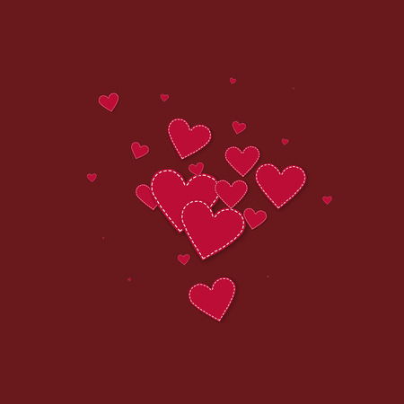 Red heart love confettis. Valentine's day explosion ravishing background. Falling stitched paper hearts confetti on maroon background. Classy vector illustration.
