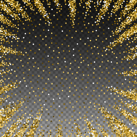 Round gold glitter luxury sparkling confetti. Scattered small gold particles on transparent background. Appealing festive overlay template. Delicate vector illustration. 向量圖像