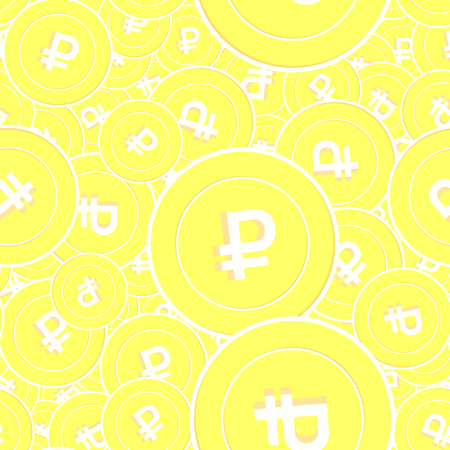 Russian ruble gold coins seamless pattern. Curious scattered yellow RUB coins. Success concept. Russia money pattern. Coin vector illustration.