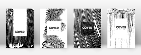 Cover page design template. Hipster brochure layout. Breathtaking trendy abstract cover page. Black and white grunge texture background. Fascinating poster.