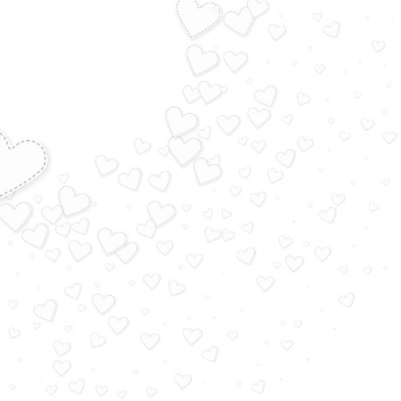 White heart love confettis. Valentine's day corner perfect background. Falling stitched paper hearts confetti on white background. Dramatic vector illustration.