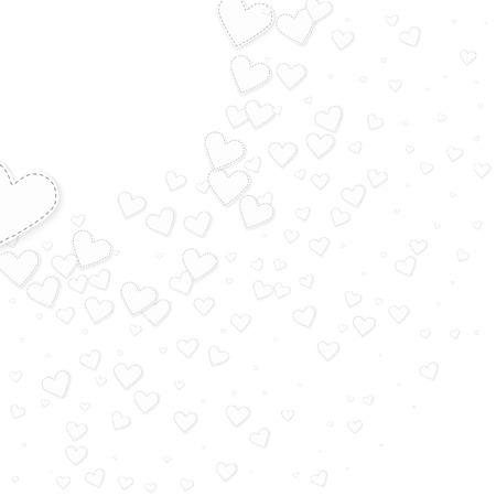 White heart love confettis. Valentine's day corner perfect background. Falling stitched paper hearts confetti on white background. Dramatic vector illustration.