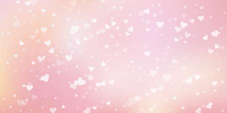 White heart love confettis. Valentine's day falling rain astonishing background. Falling transparent hearts confetti on gentle background. Enchanting vector illustration.