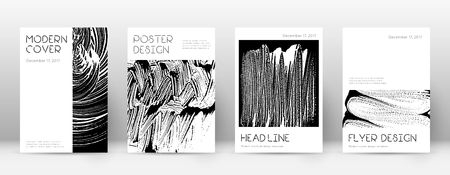 Cover page design template. Minimal brochure layout. Captivating trendy abstract cover page. Black and white grunge texture background. Overwhelming poster. Illusztráció