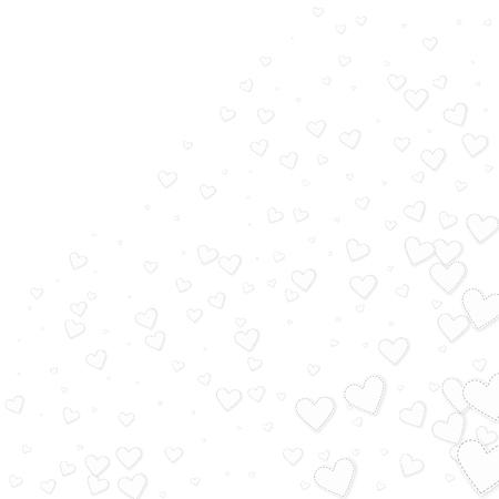 White heart love confettis. Valentine's day corner modern background. Falling stitched paper hearts confetti on white background. Elegant vector illustration. Stock Illustratie