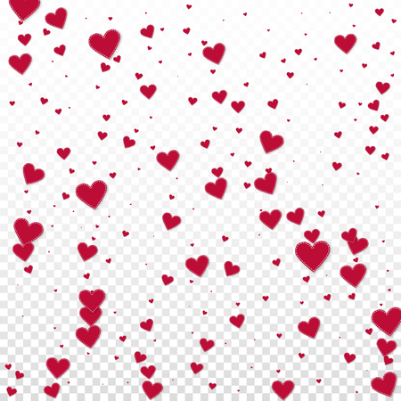 Red heart love confettis. Valentines day falling rain magnificent background. Falling stitched paper hearts confetti on transparent background. Curious vector illustration.