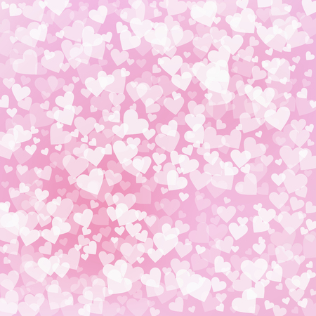 White heart love confettis. Valentines day pattern overwhelming background. Falling transparent hearts confetti on pinkish background. Extra vector illustration.
