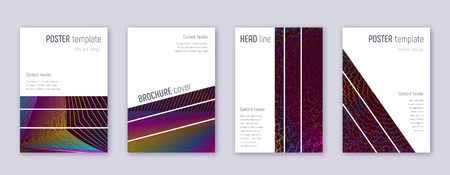 Geometric brochure design template set. Rainbow abstract lines on wine red background. Alluring brochure design. Pleasant catalog, poster, book template etc.