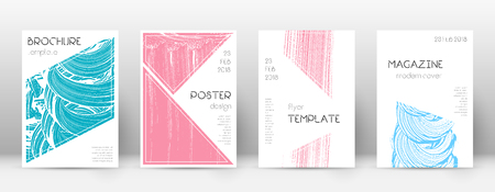 Cover page design template. Triangle brochure layout. Comely trendy abstract cover page. Pink and blue grunge texture background. Alluring poster. 向量圖像