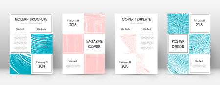 Cover page design template. Business brochure layout. Bizarre trendy abstract cover page. Pink and blue grunge texture background. Ecstatic poster.