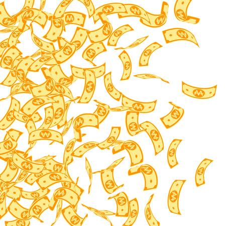 Korean won notes falling. Floating WON bills on white background. Korea money. Dazzling vector illustration. Juicy jackpot, wealth or success concept. Illustration