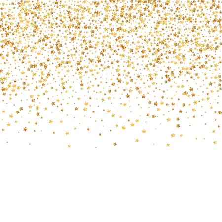 Coriandoli scintillanti di lusso con stelle d'oro. Piccole particelle d'oro sparse su sfondo bianco. Modello di sovrapposizione festivo seducente. Illustrazione vettoriale travolgente. Vettoriali
