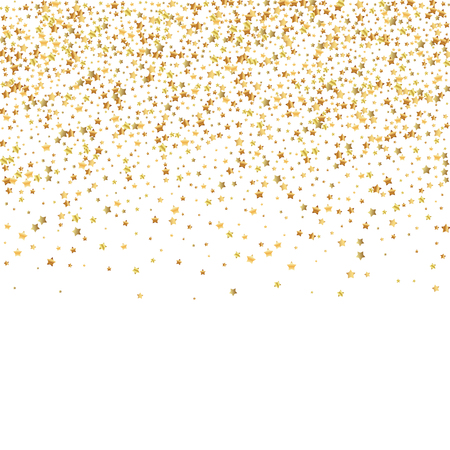 Gold stars luxury sparkling confetti. Scattered small gold particles on white background. Alluring festive overlay template. Overwhelming vector illustration. Vector Illustration