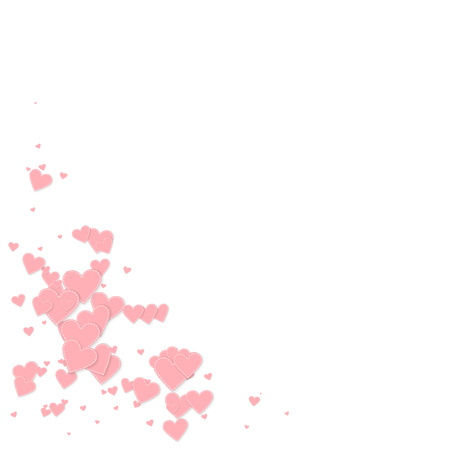 Pink heart love confettis. Valentine's day corner interesting background. Falling stitched paper hearts confetti on white background. Divine vector illustration.