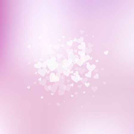 White heart love confettis. Valentine's day explosion powerful background. Falling transparent hearts confetti on gentle background. Comely vector illustration.
