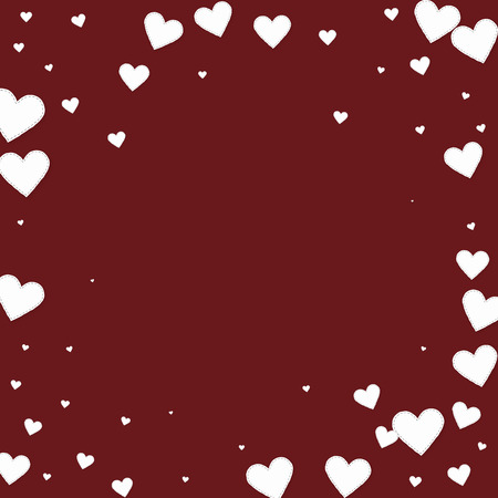 White heart love confettis. Valentines day vignette uncommon background. Falling stitched paper hearts confetti on maroon background. Dazzling vector illustration.