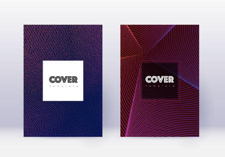 Hipster cover design template set. Violet abstract lines on dark background. Curious cover design. Grand catalog, poster, book template etc. Illustration