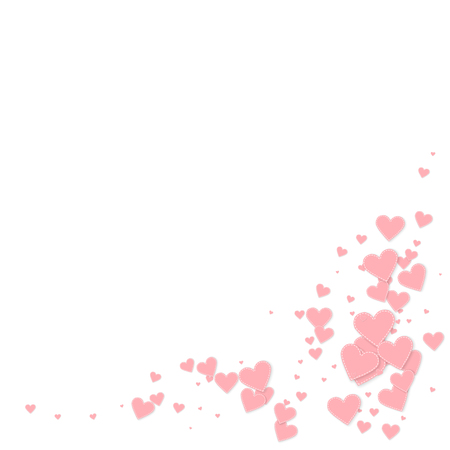Pink heart love confettis. Valentine's day corner beautiful background. Falling stitched paper hearts confetti on white background. Dramatic vector illustration.