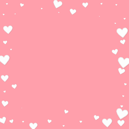 White heart love confettis. Valentine's day frame powerful background. Falling stitched paper hearts confetti on pink background. Enchanting vector illustration.