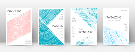 Cover page design template. Triangle brochure layout. Comely trendy abstract cover page. Pink and blue grunge texture background. Authentic poster.
