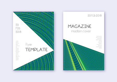 Triangle cover design template set. Green abstract lines on dark background. Impressive cover design. Overwhelming catalog, poster, book template etc.